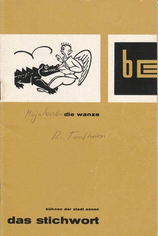Bühnen der Stadt Essen, Erich Schumacher, Ilka Boll Programmheft DIE WANZE. Premiere 25. April 1962. Das Stichwort 4. Jahrgang 1961 / 62 21