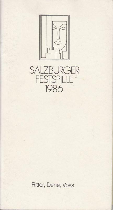 Salzburger Festspiele 1986, Vera Sturm Programmheft Uraufführung RITTER, DENE, VOSS von Thomas Bernhard 18. August 1986 Landestheater