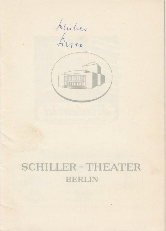 Schiller – Theater Berlin, Boleslaw Barlog, Albert Beßler Programmheft Die Verschwörung des Fiesko von Genua von Friedrich Schiller. Spielzeit 1958 / 59 Heft 75