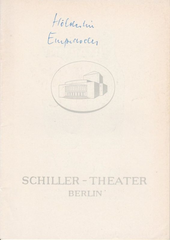 Schiller – Theater Berlin, Boleslaw Barlog, Albert Beßler Programmheft Empedokles. Fragmente von Friedrich Hölderlin. Spielzeit 1962 / 63 Heft 134