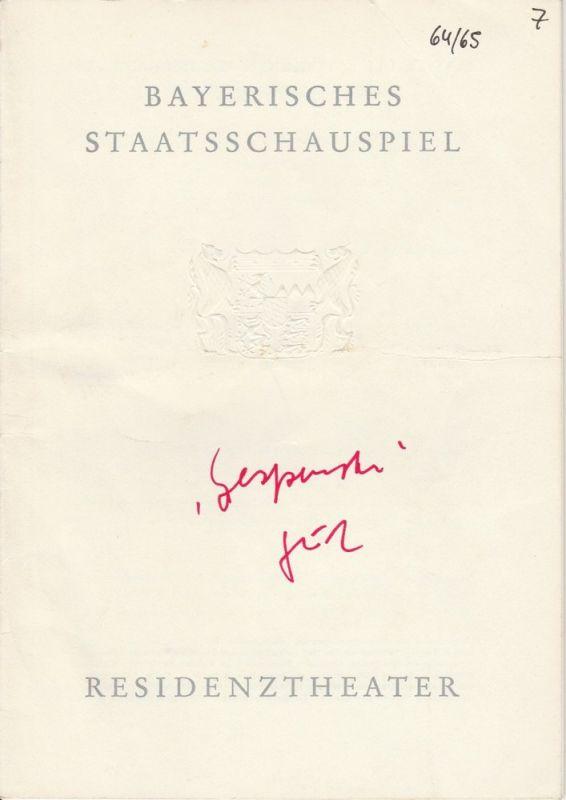 Bayerisches Staatsschauspiel, Residenztheater, Helmut Henrichs, Gerhard Reuter Programmheft GESPENSTER von Henrik Ibsen. Premiere 15. April 1965 Spielzeit 1964 / 65 Heft 7
