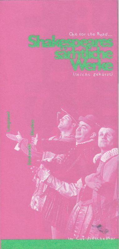 Bayerisches Staatsschauspiel, Eberhard Witt, Michael Dorner Programmheft Shakespeares sämtliche Werke ( leicht gekürzt ) Premiere 2. Juni 1997 Cuvilliestheater