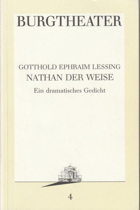 Burgtheater Wien, Hermann Beil Programmheft NATHAN DER WEISE Premiere 15.9.1986 Programmbuch Nr. 4