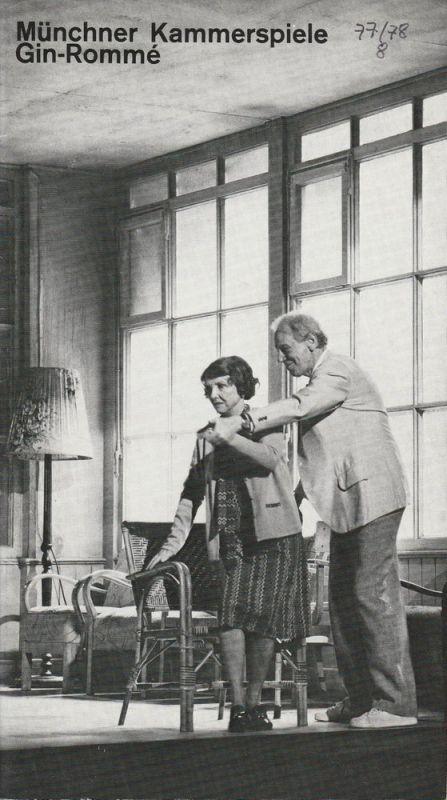 Münchner Kammerspiele, Hans-Reinhard Müller, Ernst Wendt, Wolfgang Zimmermann Programmheft D.L. Coburn: Gin-Romme. Premiere 20. Juni 1978 Spielzeit 1977 / 78 Heft 8