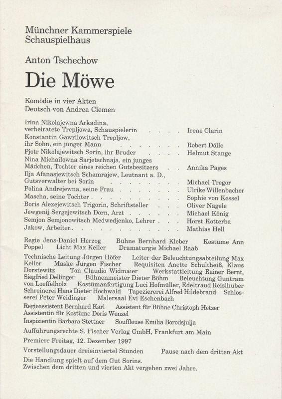 Münchner Kammerspiele, Dieter Dorn, Michael Huthmann, Michael Raab Programmheft Die Möwe von Anton Tschechow. Premiere 12. Dezember 1997 Spielzeit 1997 / 98 Heft 2