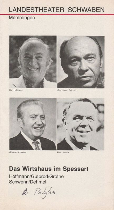 Landestheater Schwaben, Peter H. Stöhr, Urs Bircher, Martin Kreutzberg Programmheft Das Wirtshaus im Spessart. Premiere 31. Dezember 1979 Spielzeit 1979 / 80