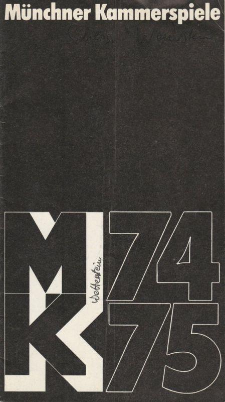 Münchner Kammerspiele, Hans-Reinhard Müller Programmheft Frank Wedekind: Schloß Wetterstein. Premiere 22. Oktober 1974 Spielzeit 1974 / 75 Heft 2