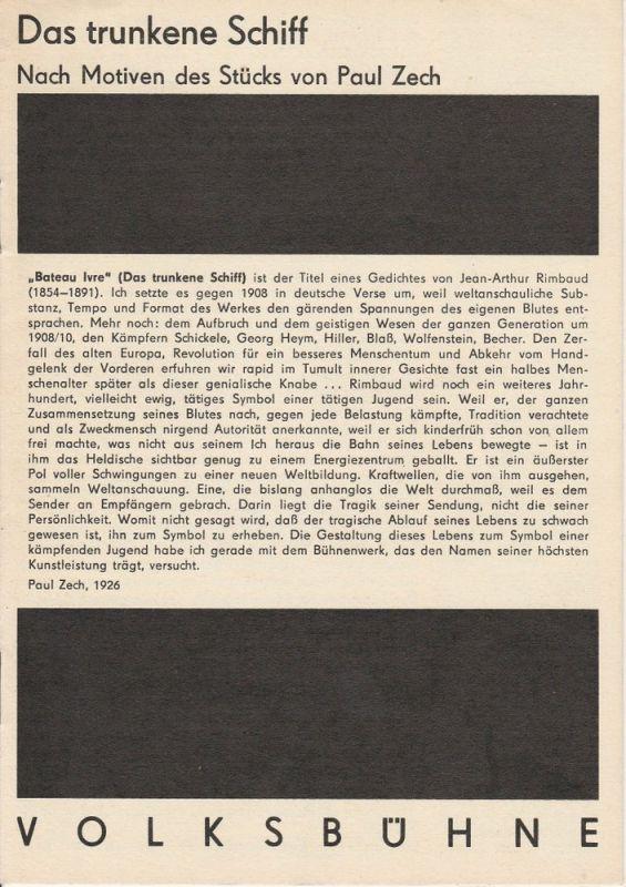 Volksbühne Berlin, Rosa-Luxemburg-Platz, Fritz Rödel, Frank Castorf Programmheft Das trunkene Schiff nach Motiven des Stücks von Paul Zech
