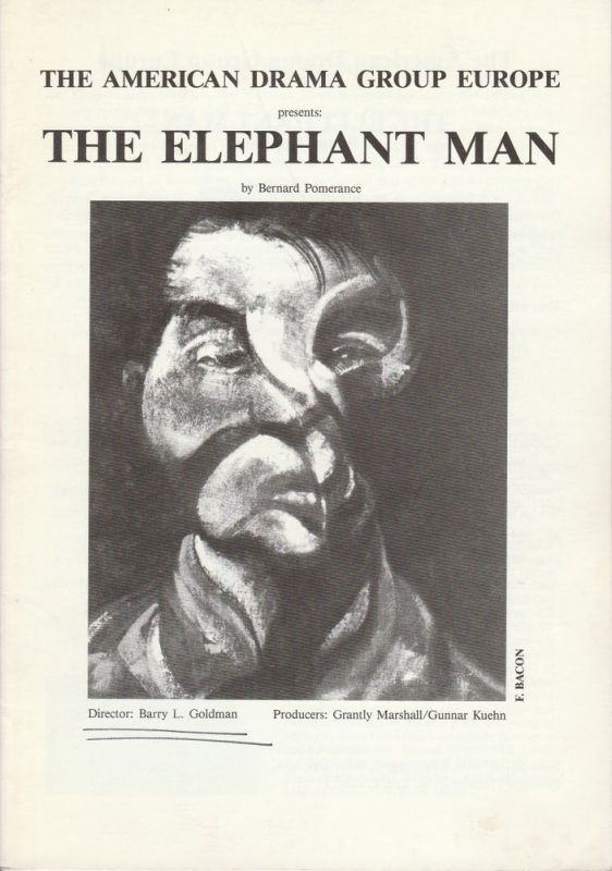 The American Drama Group Europe Programmheft THE ELEPHANT MAN by Bernard Pomerance