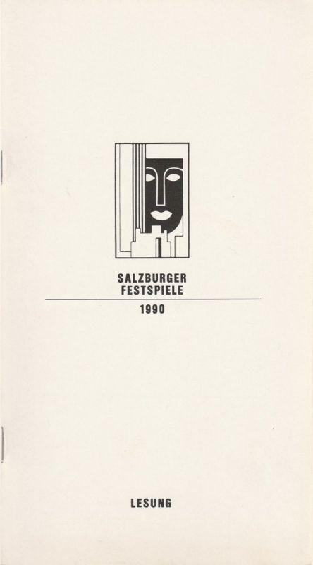Salzburger Festspiele 1990, Franz Willnauer, Hedwig Kainberger, Christa Willander, Matthias Krön, Annedore Cordes Programmheft LESUNG Elisabeth Ort liest Hugo von Hofmannsthal. Prosa und Gedichte. Mozarteum 31. Juli 1990