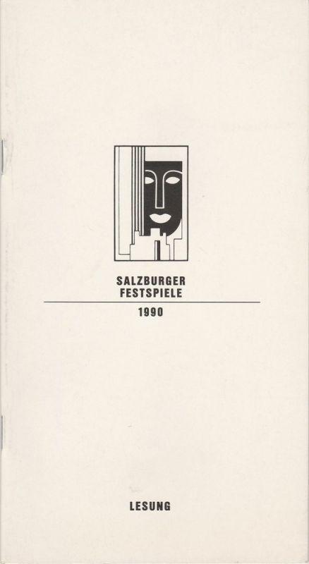 Salzburger Festspiele 1990, Franz Willnauer, Hedwig Kainberger, Christa Willander, Matthias Krön, Annedore Cordes Programmheft LESUNG Helmut Lohner liest Arthur Schnitzler. Landestheater 6. August 1990 0