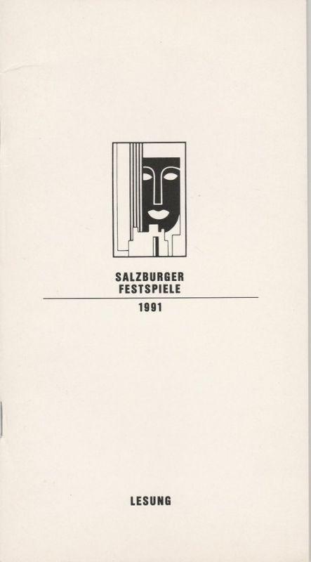 Salzburger Festspiele 1991, Franz Willnauer, Hedwig Kainberger, Christa Willander, Annette Mangold, Annedore Cordes Programmheft LESUNG Ernst Schröder liest Ein Blatt für Mozart Mozarteum 8. August 1991