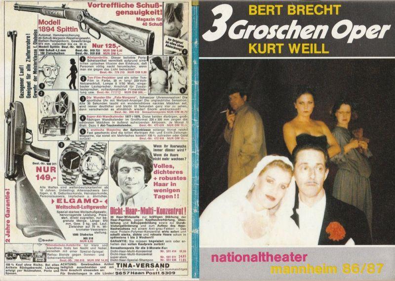 Nationaltheater Mannheim, Arnold Petersen, Susanne Abbrederis, Martin Drexler Programmheft Bertolt Brecht / Kurt Weill DIE DREIGROSCHENOPER. Premiere der Neuinszenierung 25. Oktober 1986
