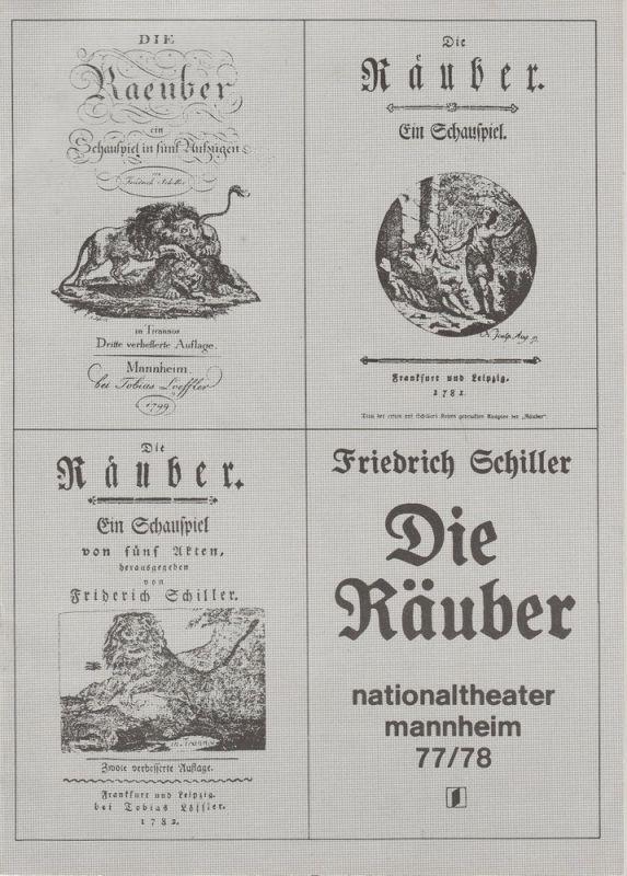 Nationaltheater Mannheim, Arnold Petersen, Klaus Pierwoß Programmheft DIE RÄUBER von Friedrich Schiller. Premiere 8. April 1978 199. Spielzeit 1977 / 78 Nr. 15