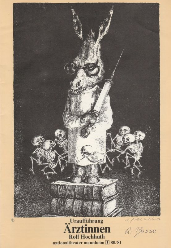 Nationaltheater Mannheim, Arnold Petersen, Peter Ritz Programmheft Uraufführung Rolf Hochhuth: ÄRZTINNEN am 9. November 1980 Spielzeit 1980 / 81 Nr. 4