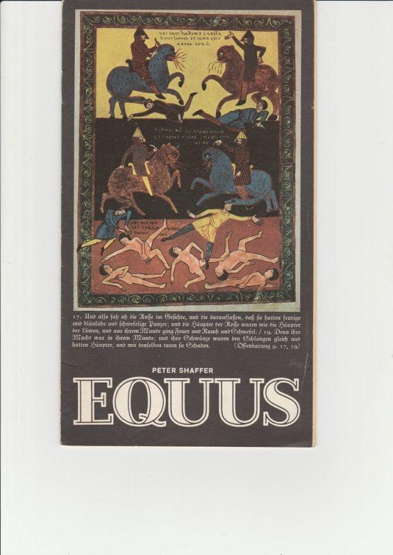 Deutsches Schauspielhaus in Hamburg, Ivan Nagel, Anke Roeder, Rosemarie Clausen ( Fotos ) Programmheft EQUUS von Peter Shaffer. Premiere 29. Januar 1974 0