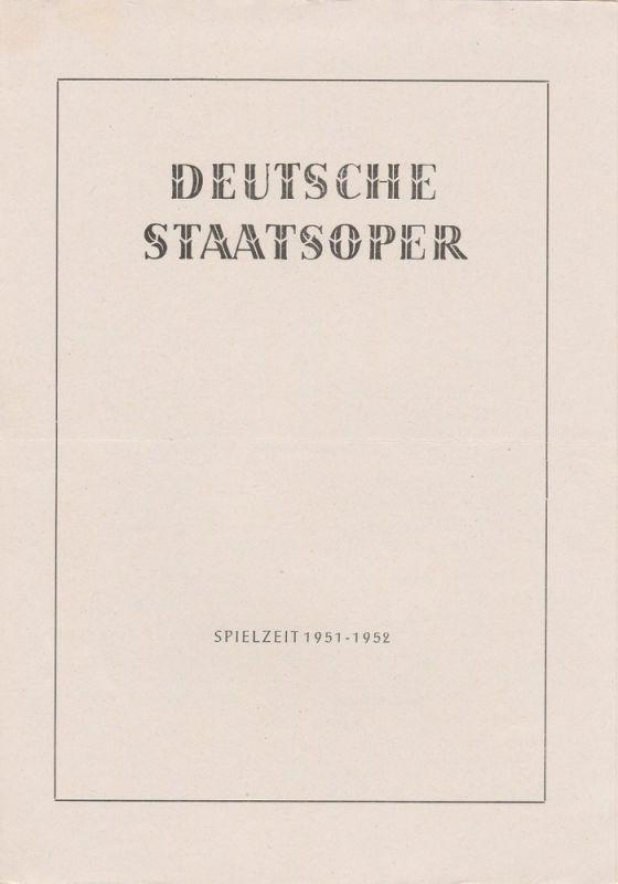 Deutsche Staatsoper Berlin, Fritz Briese Programmheft Hänsel und Gretel. Märchenspiel von Adelheid Wette. 17. Januar 1952