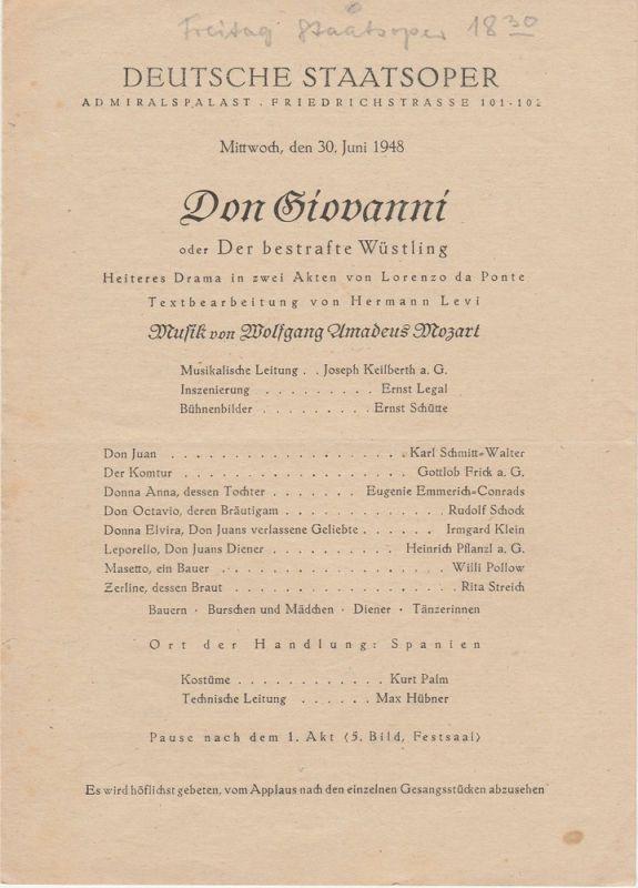 Deutsche Staatsoper, Admiralspalast Friedrichstrasse 101-102 Programmheft Wolfgang Amadeus Mozart DON GIOVANNI 30. Juni 1948