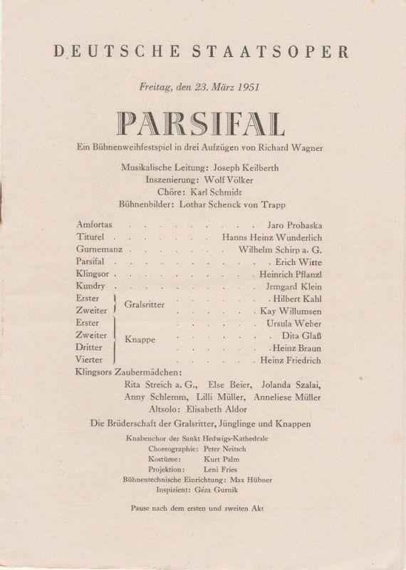 Deutsche Staatsoper Berlin Programmheft PARSIFAL Bühnenweihfestspiel von Richard Wagner 23. März 1951