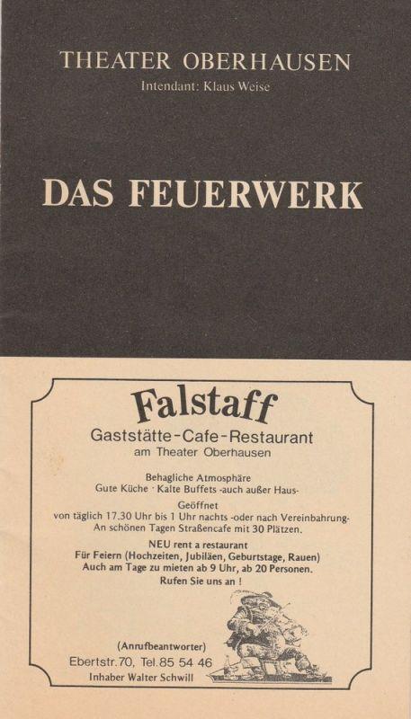 Theater Oberhausen, Klaus Weise, Musiktheater Oberhausen, Frank Labussek Programmheft DAS FEUERWERK von Paul Burkhard Premiere 25. Dezember 1991 Spielzeit 1991 / 92