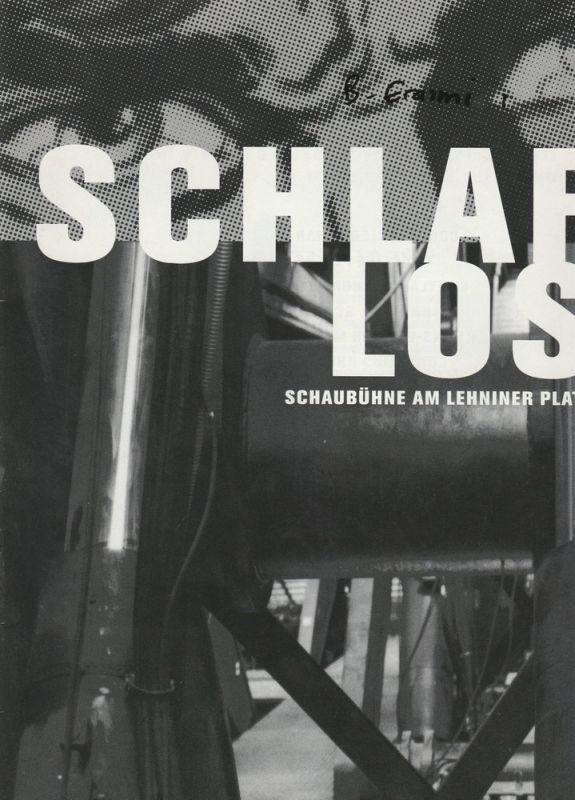 Schaubühne am Lehniner Platz, Dieter Zertz Programmheft Uraufführung SCHLAFLOS Opera für 8 Schauspieler Premiere 16.11.1996 Spielzeit 1996 / 97