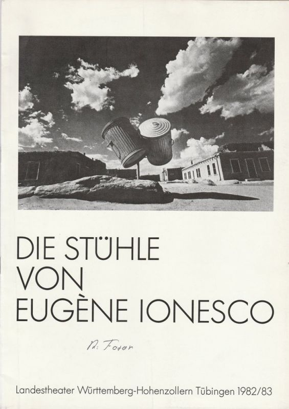 Landestheater Württemberg-Hohenzollern Tübingen, Klaus Pierwoß, Brigitte Weinzierl Programmheft DIE STÜHLE. Tragische Farce von Eugene Ionesco. Premiere 9. September 1982
