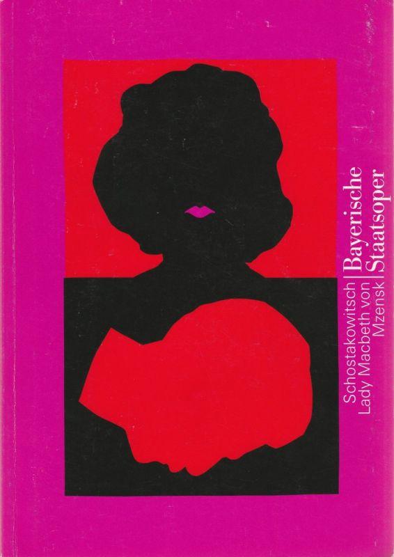 Bayerische Staatsoper, Peter Jonas, Hanspeter Krellmann, Krista Thiele, Anette Unger Programmheft Lady Macbeth von Mzensk am 1. Juli 1993 im Nationaltheater Spielzeit 1993 / 94