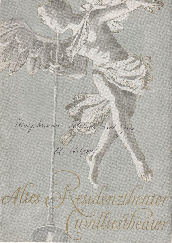Altes Residenztheater Cuvillies-Theater, Helmut Henrichs, Blätter des Bayerischen Staatsschauspiels Programmheft Schluck und Jau von Gerhart Hauptmann. Premiere 22. Dezember 1962