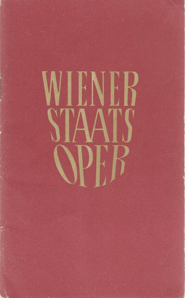 Staatsoper Wien, Rudolf Klein Programmheft der Wiener Staatsoper 16. bis 30. September 1964