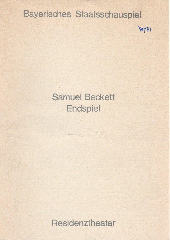 Bayerisches Staatsschauspiel, Helmut Henrichs, Urs Jenny Programmheft ENDSPIEL von Samuel Beckett. Premiere 19. Mai 1971 Residenztheater