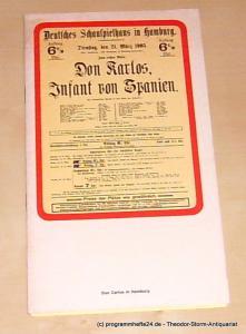 Schiller Friedrich, Nagel Ivan, Wilms Bernd Programmheft Don Carlos Infant von Spanien. 7. Oktober 1975 Deutsches Schauspielhaus in Hamburg