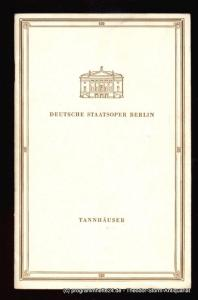 Deutsche Staatsoper Berlin, Rimkus Günter Programmheft Tannhäuser und der Sängerkrieg auf der Wartburg. Sonntag 28. Januar 1968