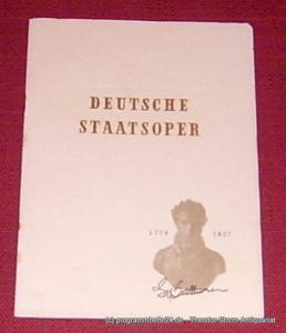 Deutsche Staatsoper Berlin Programmheft Fidelio. Oper von Ludwig van Beethoven. Mittwoch 7. Oktober 1953