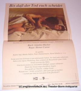 DEFA Gruppe Babelsberg Filmplakat Bis daß der Tod euch scheidet