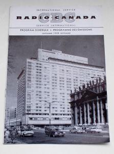 Canadian Broadcasting Corporation Programmheft CBC Radio Canada International Service. Program Schedule September 1958