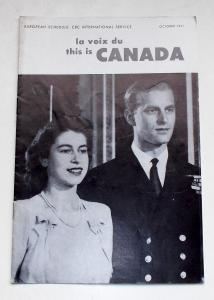 Canadian Broadcasting Corporation Programmheft La Voix du CANADA. This is CANADA October 1951