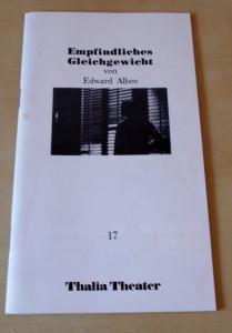Thalia Theater Hamburg, Jürgen Flimm, Rolf Paulin, Ludwig von Otting, Gerd Leo Kuck Programmheft 17 Empfindliches Gleichgewicht von Edward Albee. Premiere 5. März 1987