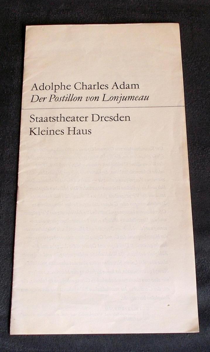 Staatstheater Dresden, Hans Dieter Mäde, Staatsoper Dresden, Dieter Uhrig Programmheft Der Postillon von Lonjumeau. Spielzeit 1969 / 70 0