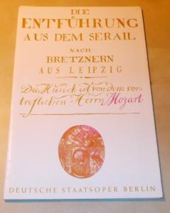 Deutsche Staatsoper Berlin, Werner Otto Programmheft Die Entführung aus dem Serail