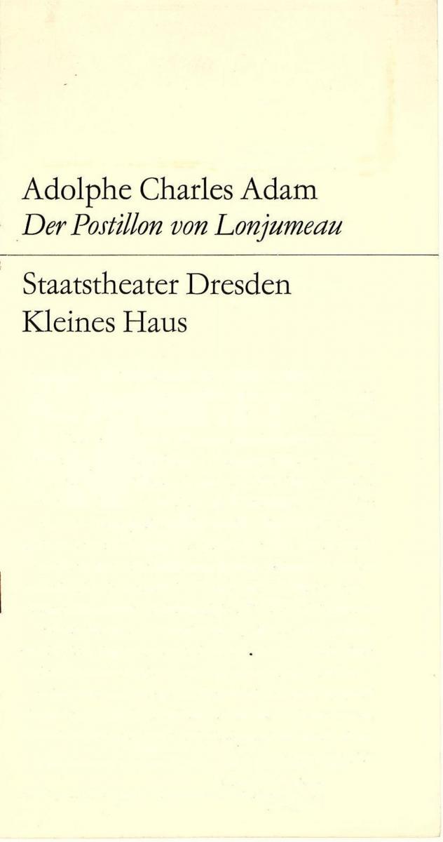 Staatstheater Dresden, Kleines Haus, Hans Dieter Mäde, Dieter Uhrig Programmheft Der Postillon von Lonjumeau. Spielzeit 1969 / 70 0