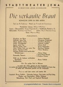Stadttheater Jena, John Biermann Theaterzettel Die verkaufte Braut. Komische Oper 1947