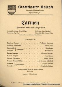 Stadttheater Rostock, Johannes Semper Theaterzettel Carmen. Oper von Georges Bizet. Spielzeit 1946 / 47