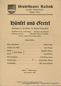 Stadttheater Rostock, Johannes Semper Theaterzettel Hänsel und Gretel. Märchenspiel von Engelbert Humperdinck. Spielzeit 1946 / 47