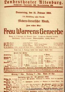 Landestheater Altenburg, Peter Posdzech, Gerhard Machnik, Günter Wolgast Programmheft Frau Warrens Beruf. Premiere 27. November 1977 Programmheft Nr. 5