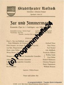 Stadttheater Rostock, Johannes Semper Theaterzettel Zar und Zimmermann. Komische Oper von Albert Lortzing. Spielzeit 1946 / 47