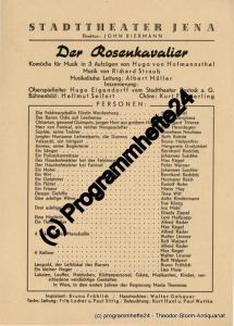 Stadttheater Jena, John Biermann Theaterzettel Der Rosenkavalier. Komödie für Musik von Hugo von Hofmannsthal