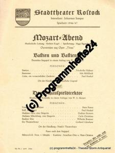 Stadttheater Rostock, Johannes Semper Theaterzettel MOZART-ABEND. Bastien und Bastienne / Der Schauspieldirektor von Wolfgang Amadeus Mozart. Spielzeit 1946 / 47