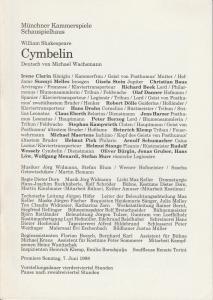 Münchner Kammerspiele, Dieter Dorn, Hans-Joachim Ruckhäberle, Rolf Schröder, Ursula Honisch Programmheft Cymbelin von William Shakespeare. Premiere 7. Juni 1998 Spielzeit 1997 / 98 Heft 6