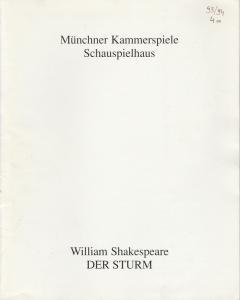 Münchner Kammerspiele, Schauspielhaus, Dieter Dorn, Hans-Joachim Ruckhäberle, Michael Wachsmann Programmheft William Shakespeare: DER STURM. Premiere 2. Mai 1994 Spielzeit 1993 / 94 Heft 4a