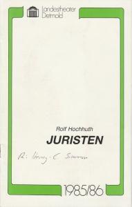 Landestheater Detmold, Gerd Nienstedt, Bruno Scharnberg Programmheft Rolf Hochhuth: Juristen. Premiere 28. November 1985